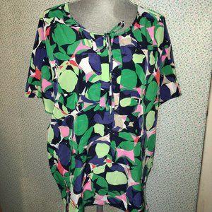 GAP Green Pink Short Sleeve Abstract Front Shirt S